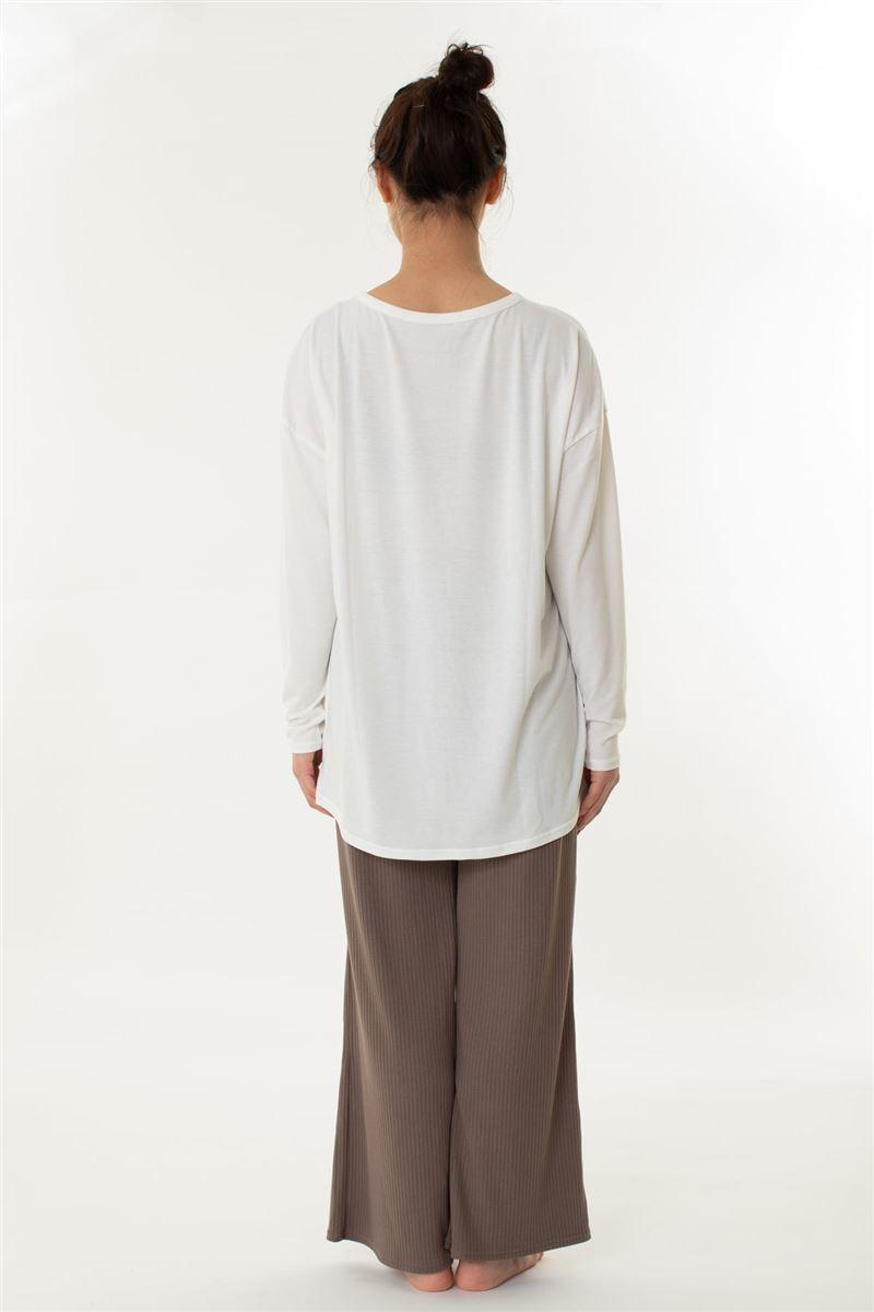 ベア天Tシャツ×リブパンツ長袖パジャマ