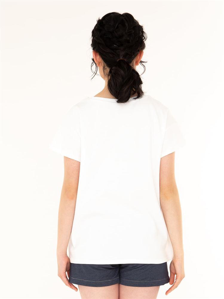 くま刺繍綿スムースドロップショルダーTシャツ