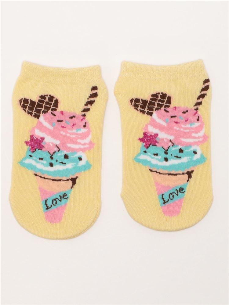 [キッズ]アイスクリーム柄綿混くるぶしソックス