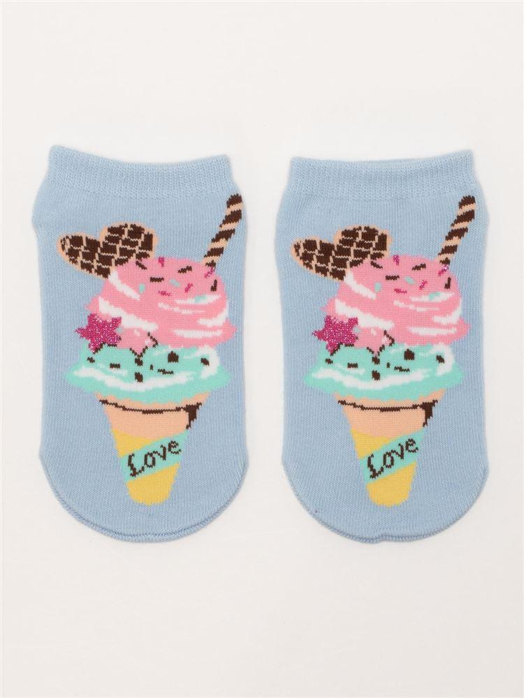 アイスクリーム柄綿混キッズくるぶしソックス