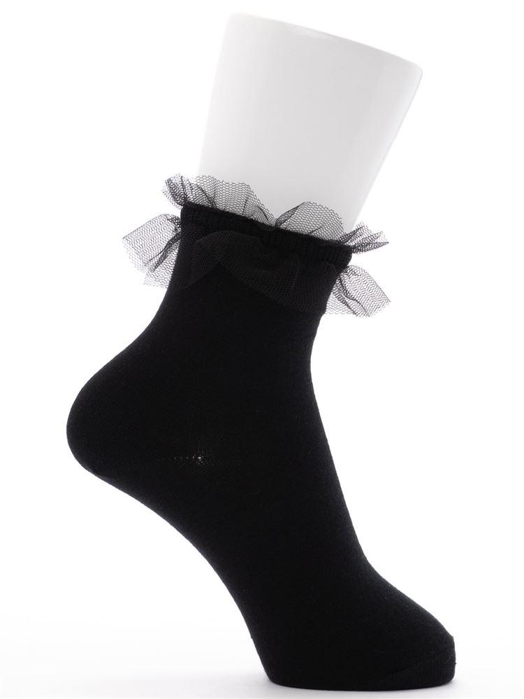 [ガールズ]綿混履き口レースCANDYロゴソックス13cm丈