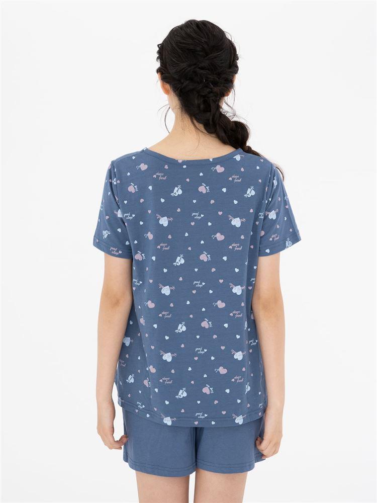天竺レトロハート柄半袖パジャマ