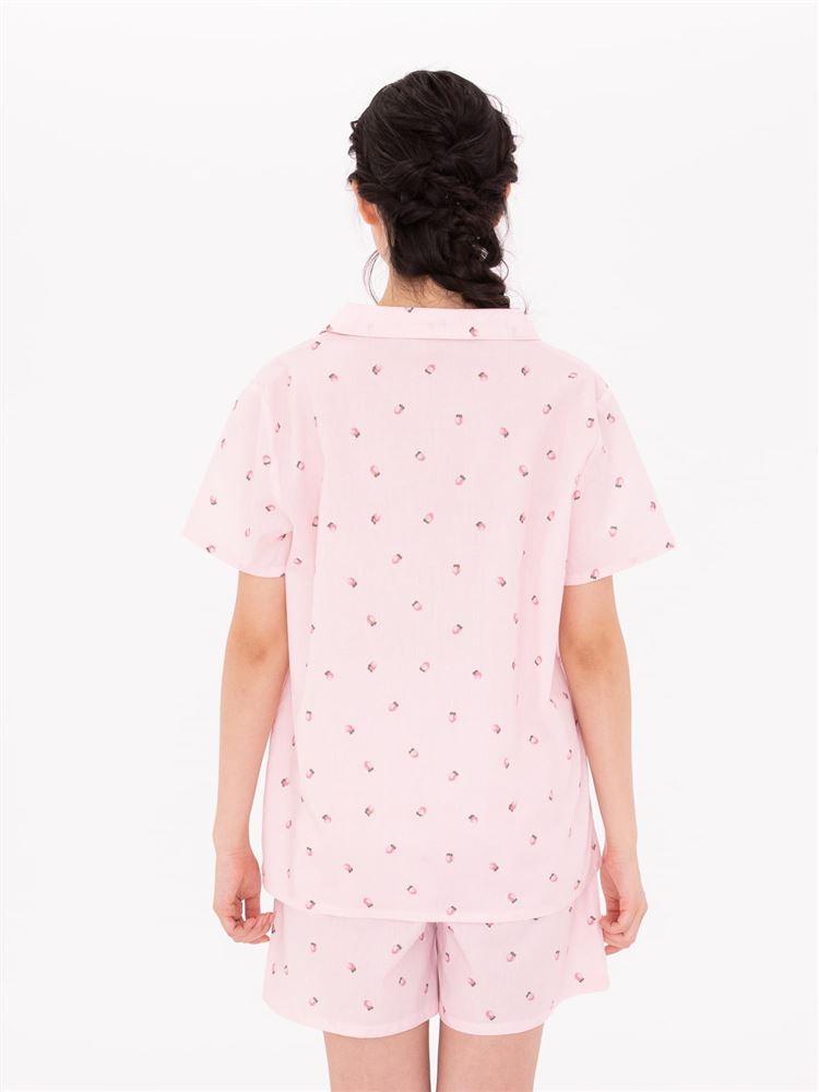 布帛イチゴ柄前開半袖パジャマ