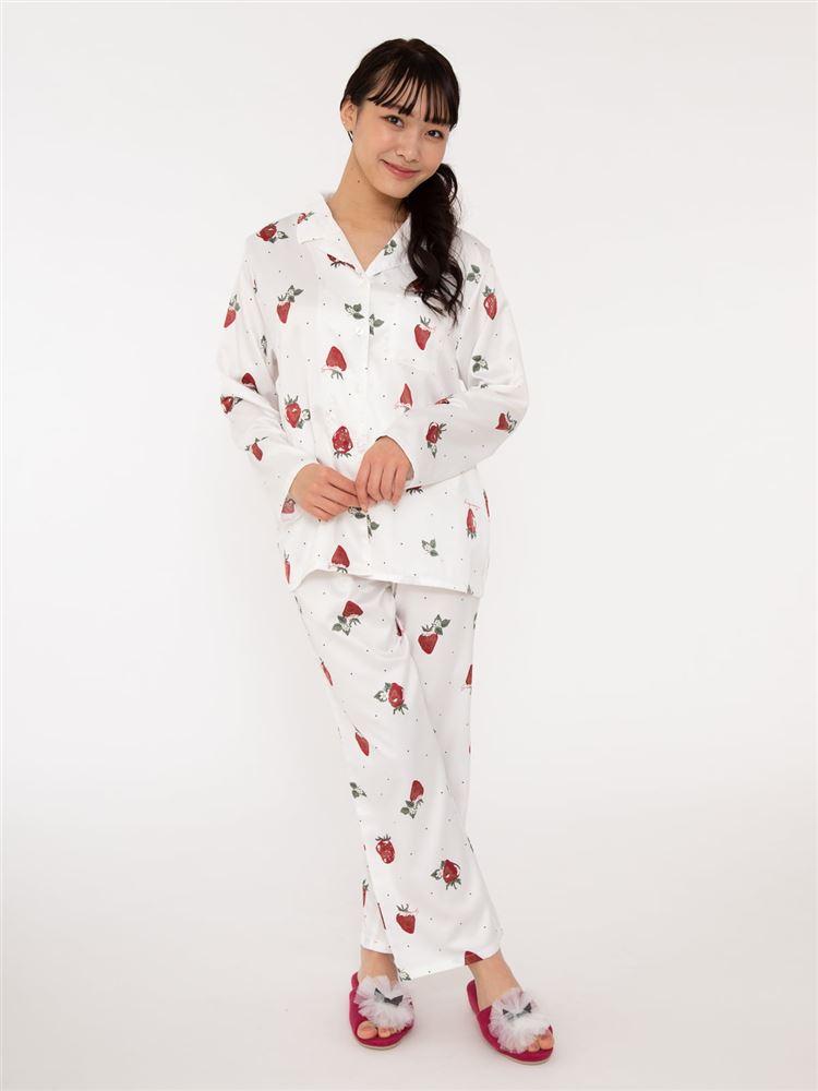 イチゴ柄サテンパジャマ