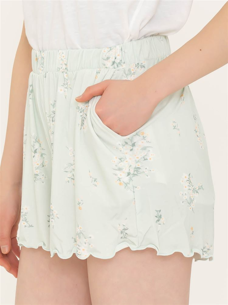天竺花柄1分丈パンツ