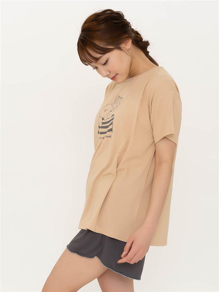 ベア天ビション抱っこ柄ドロップショルダーTシャツ