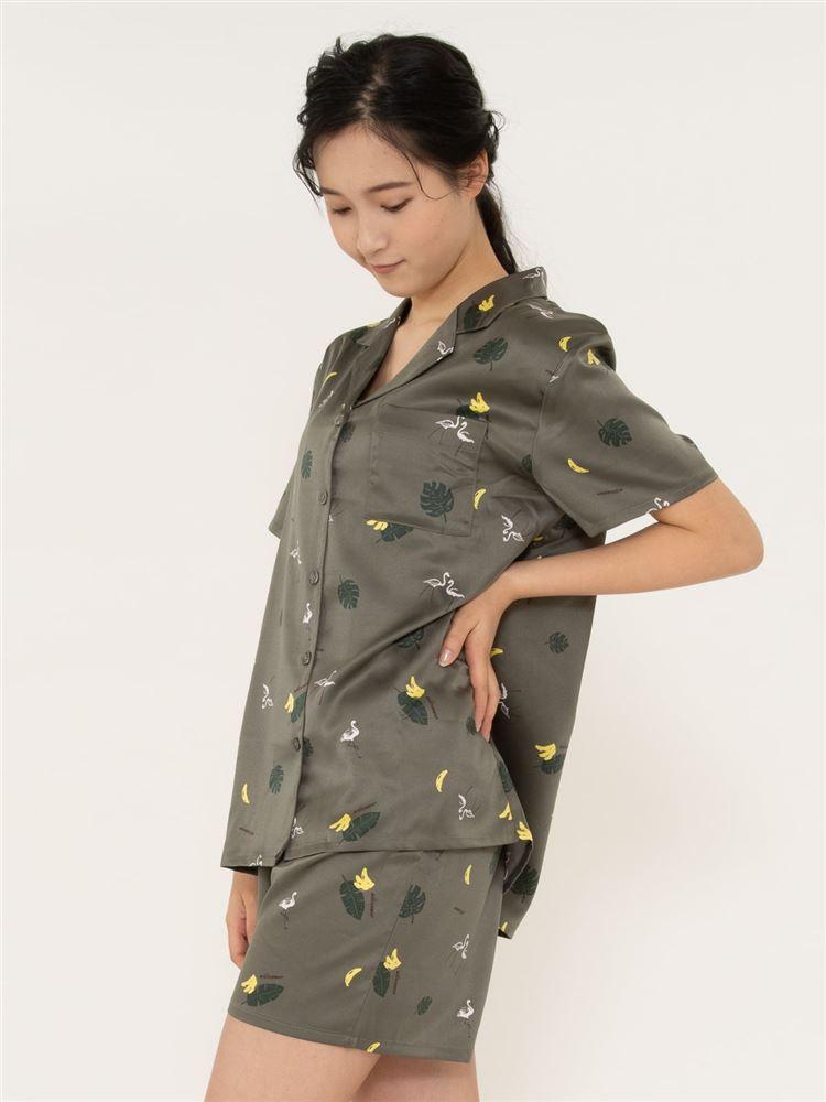 南国柄サテンパジャマ(半袖×1分丈パンツ)