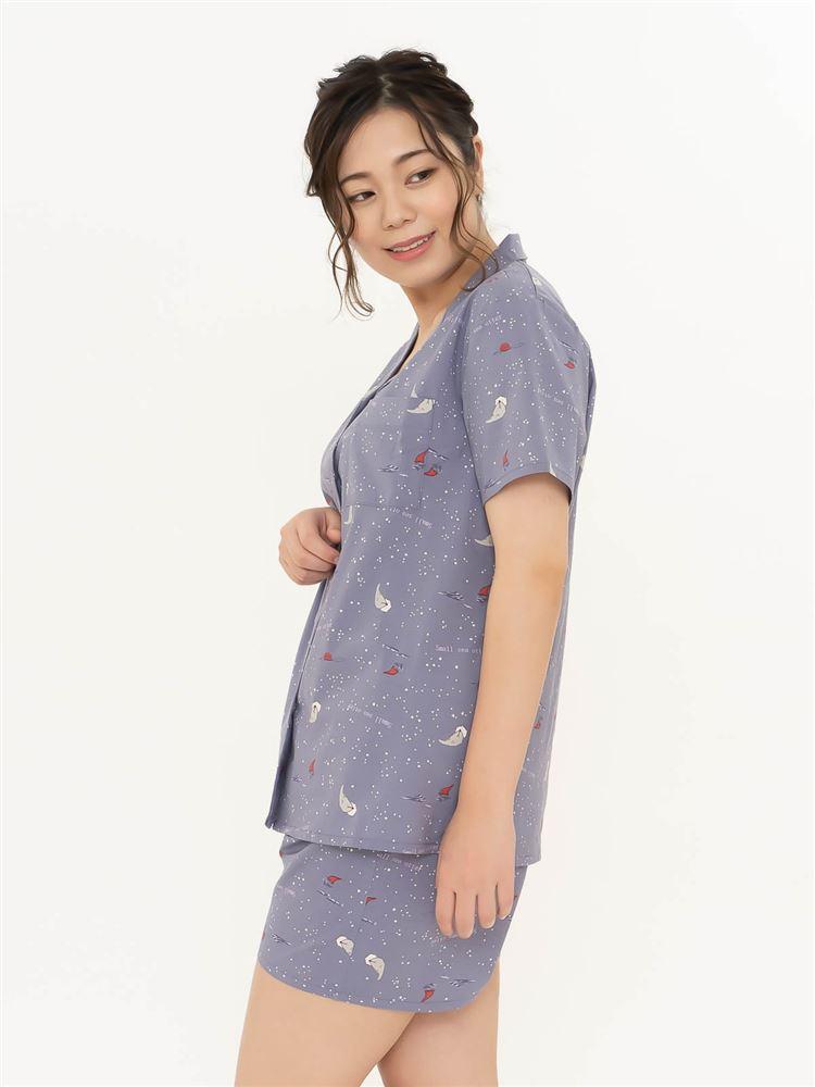 ラッコ柄布帛パジャマ(半袖×1分丈パンツ)