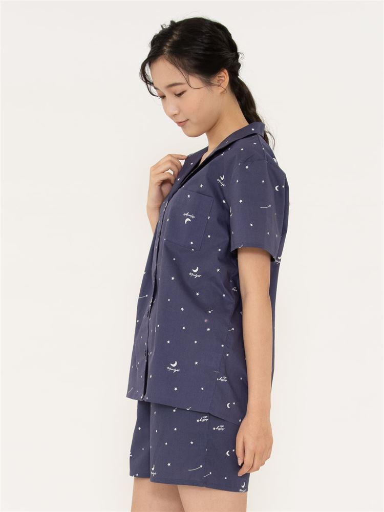 星柄布帛パジャマ(半袖×1分丈パンツ)