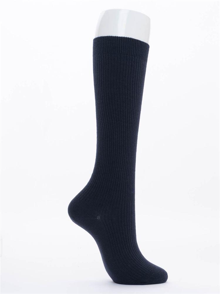エッフェル塔刺繍綿混ハイソックス38cm丈