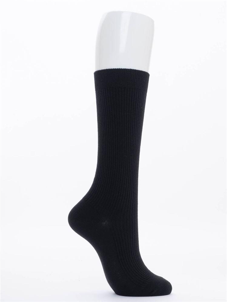エンブレム刺繍綿混ハイソックス28cm丈