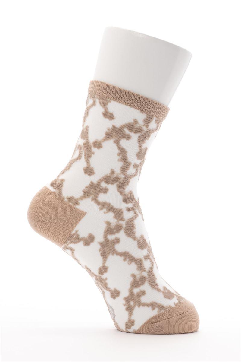 [レディライン]綿混カラーシースルー花柄ソックス16cm丈