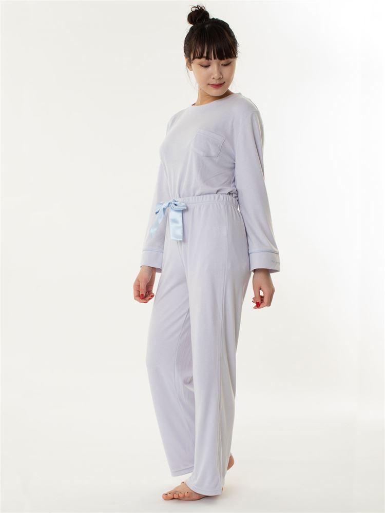 スムースかぶり袖ワンポイント長袖パジャマ