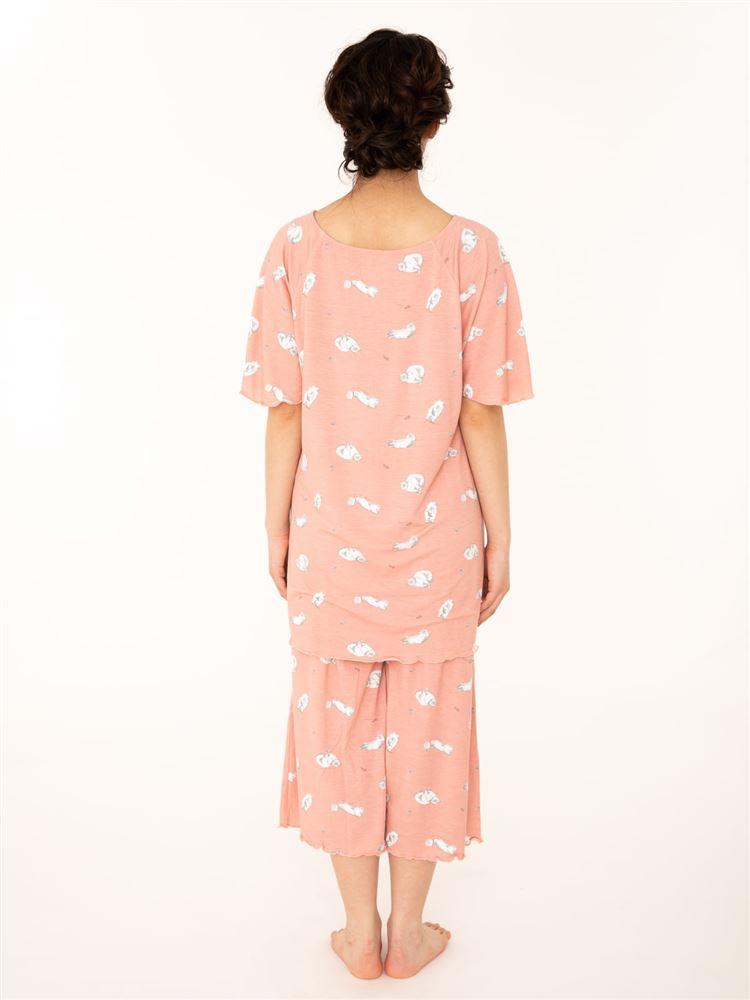 ねこ柄レーヨンベア天竺半袖パジャマ