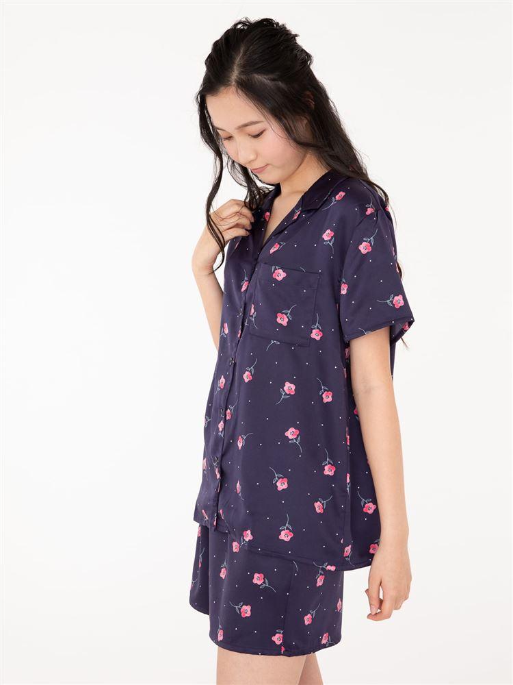 レトロ花柄襟付き前開きサテン半袖パジャマ