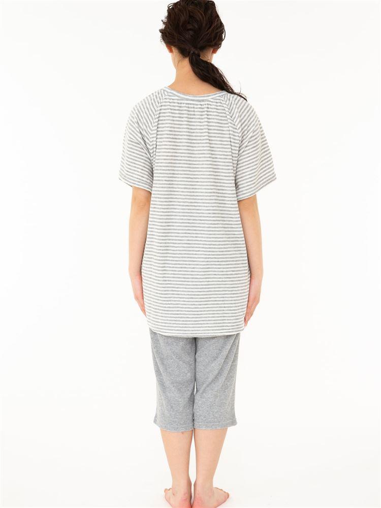 パイル細ボーダーチュニック7分丈半袖パジャマ
