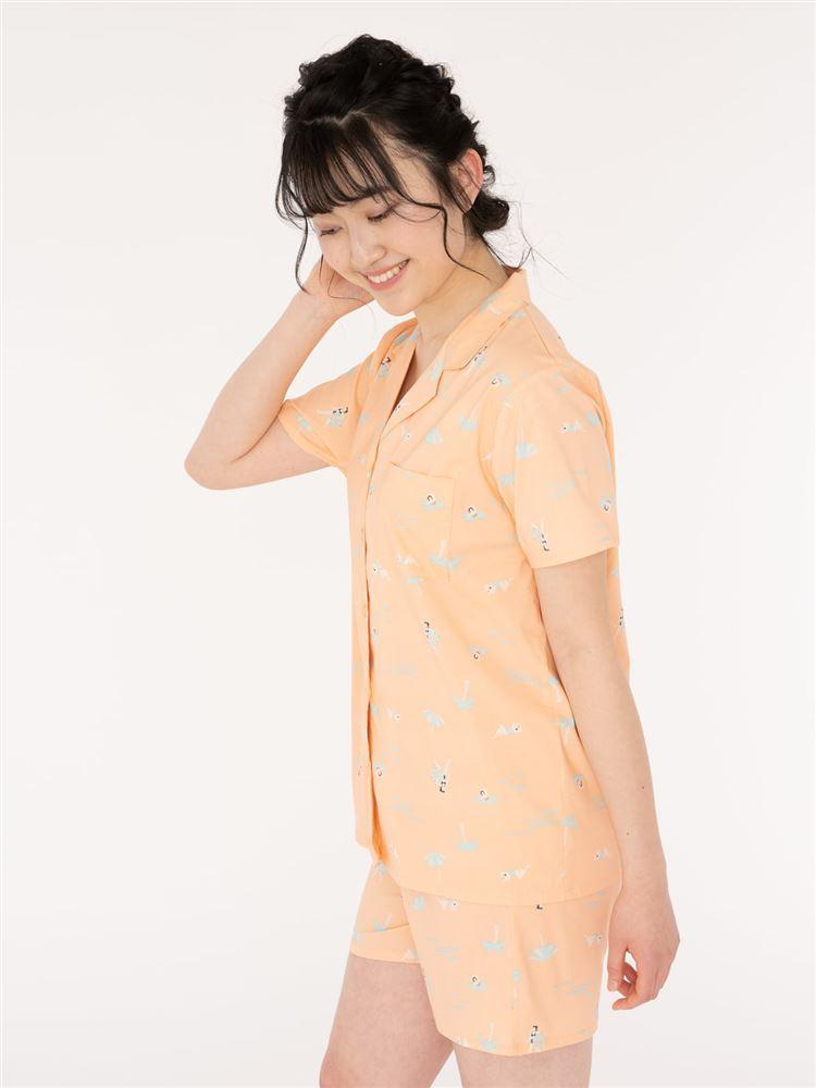 レーヨン布帛前開きリゾート柄半袖パジャマ