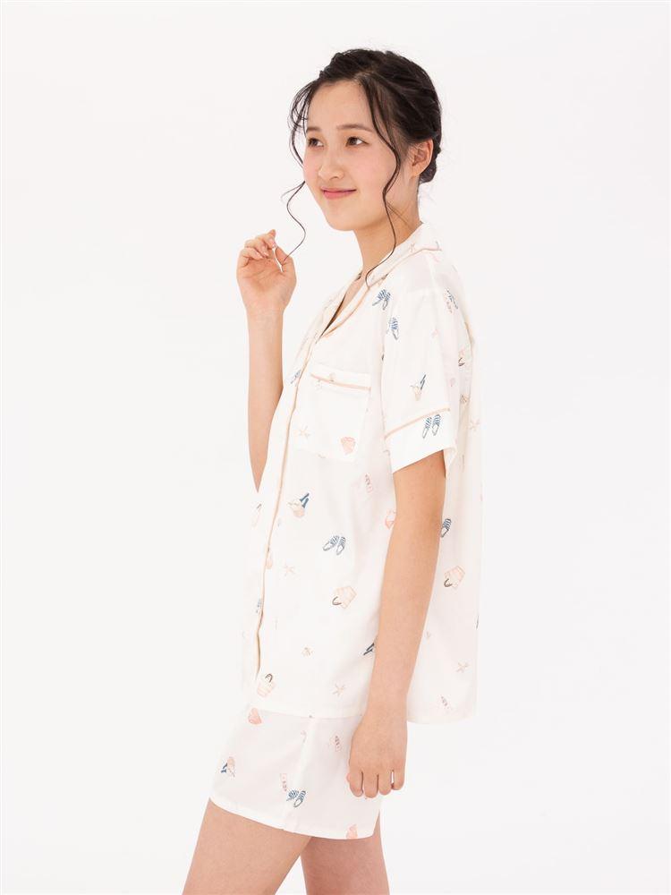 サテンビーチ柄前開き半袖パジャマ
