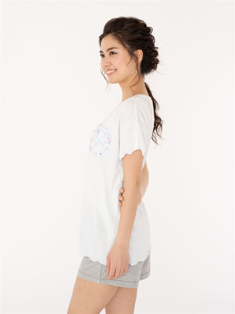 花柄ポケット袖口メローTシャツ