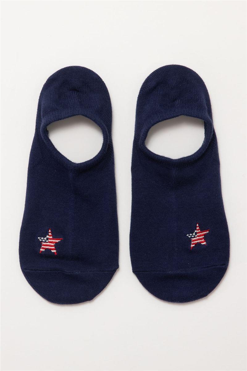 アメリカ国旗星刺繍ローカットくるぶしソックス