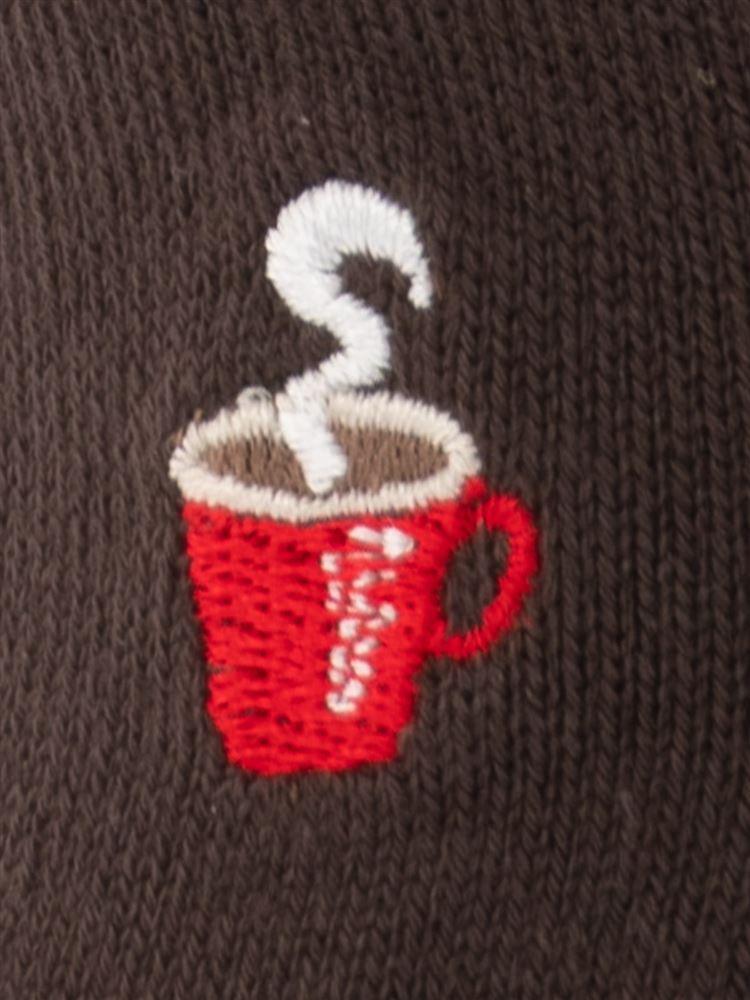 [メンズ]綿混抗菌防臭コーヒー刺繍ローカットくるぶしソックス