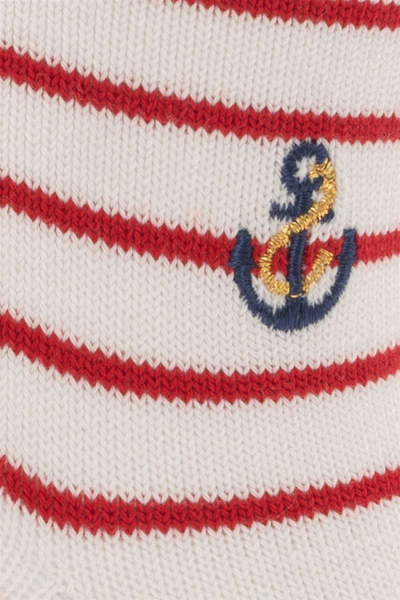 綿混ボーダーイカリ刺繍ソックス16cm丈
