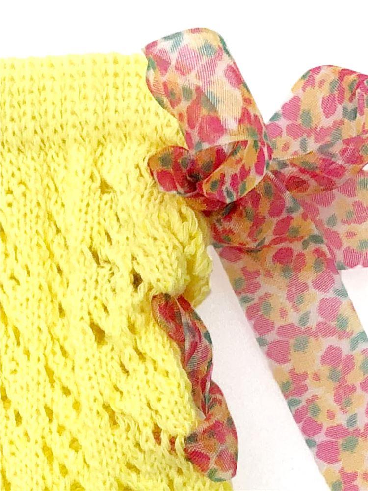 綿混編み上げシフォン小花柄リボンルミーソックス13cm丈