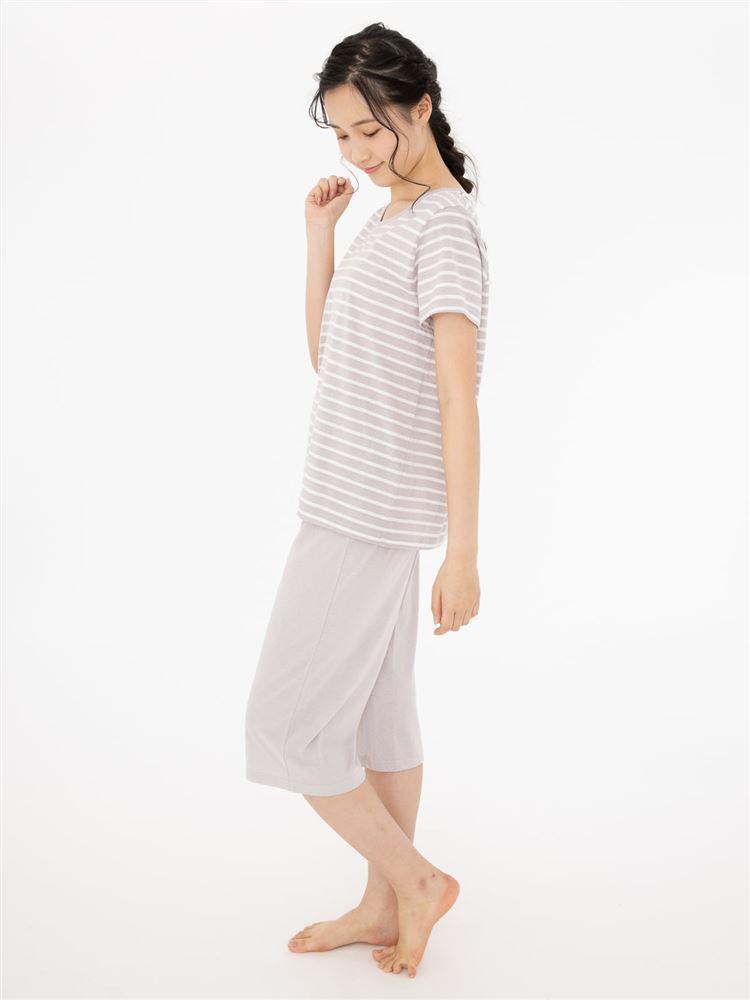 天竺ボーダー柄半袖パジャマ