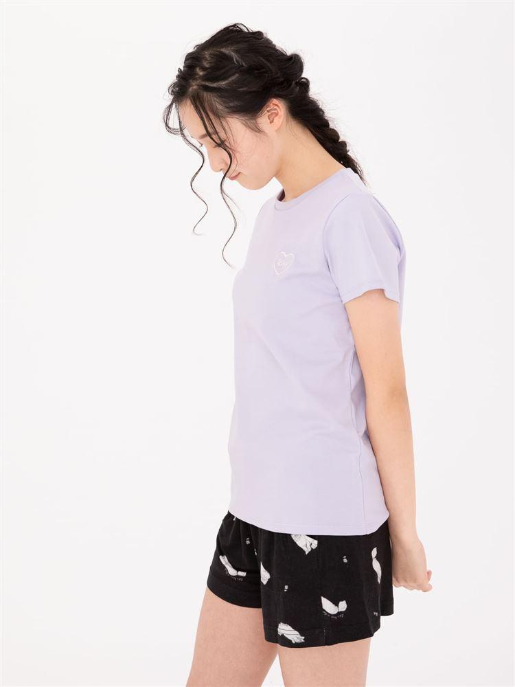 ハートモチーフスムース綿Tシャツ