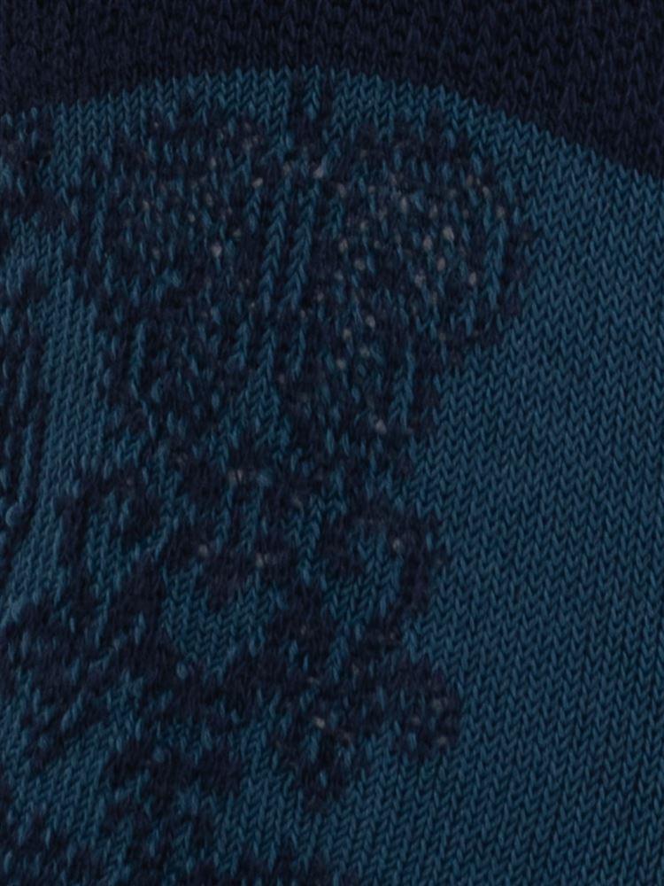 フロート花柄綿混深履きカバーソックス