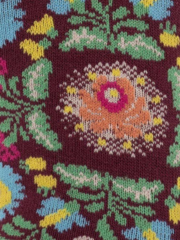 綿混メキシコ花総柄くるぶしソックス