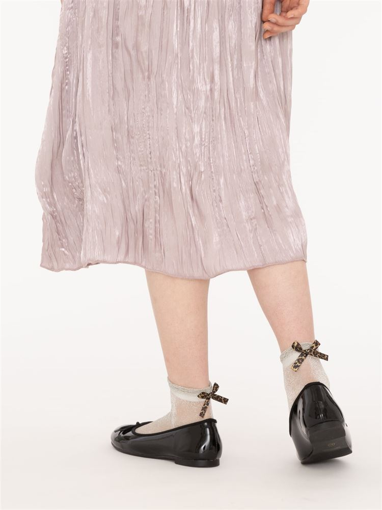 [レディライン]履き口フリルバックヒョウ柄リボン付きラメソックス14cm丈