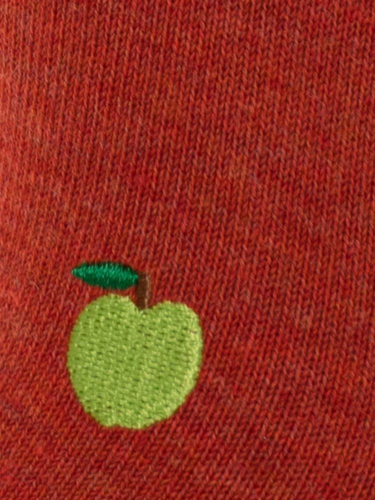 左右柄違いハリネズミとりんご刺繍ローカットくるぶしソックス