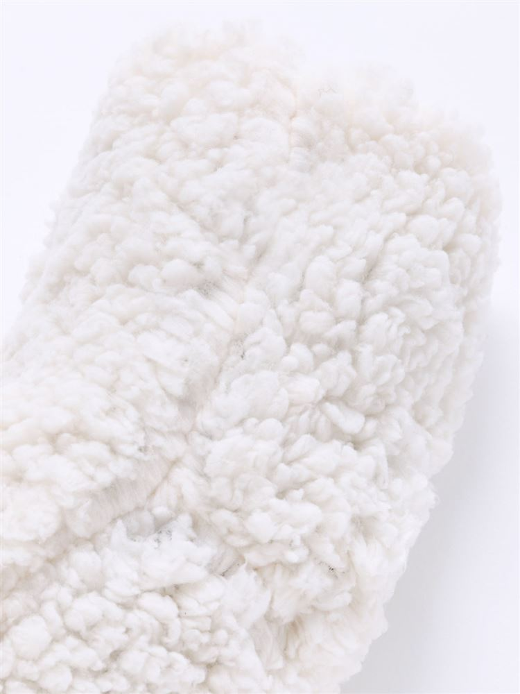 内側ボア雪柄部分リンクスルームソックス11cm丈
