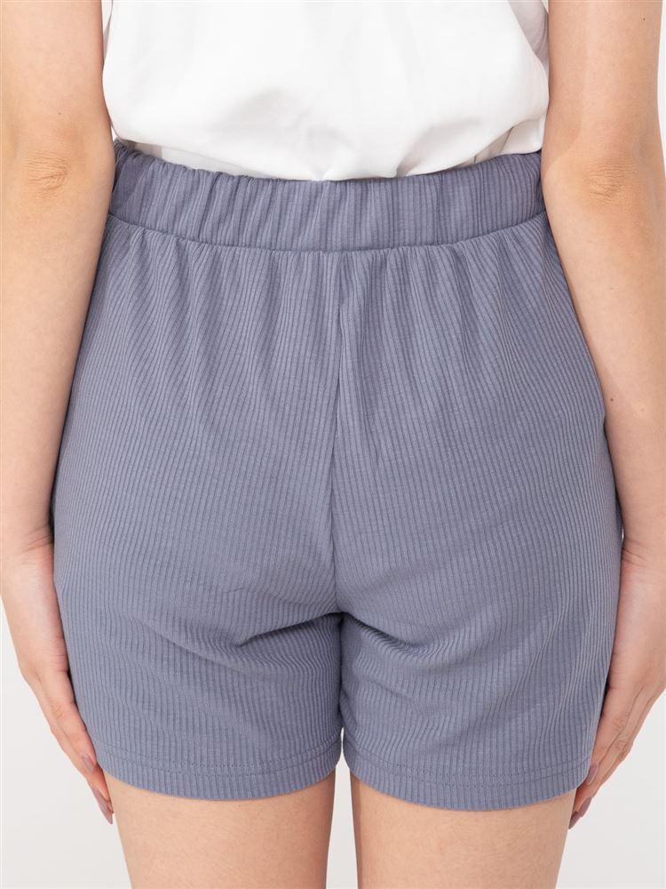 サテンリボン付きリブ1分丈パンツ