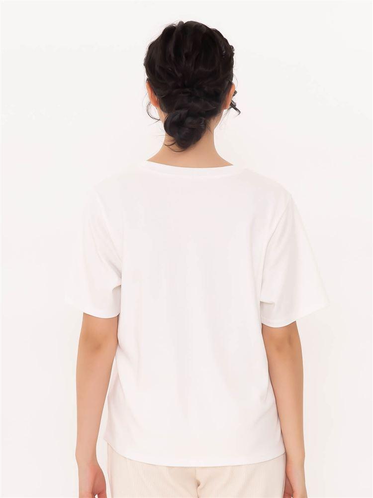 綿混花フォトプリントゆったりTシャツ