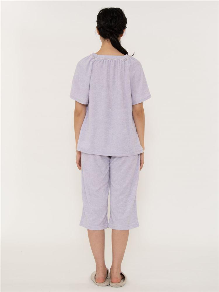 襟元スクエア無地パイルパジャマ(半袖×5分丈パンツ)