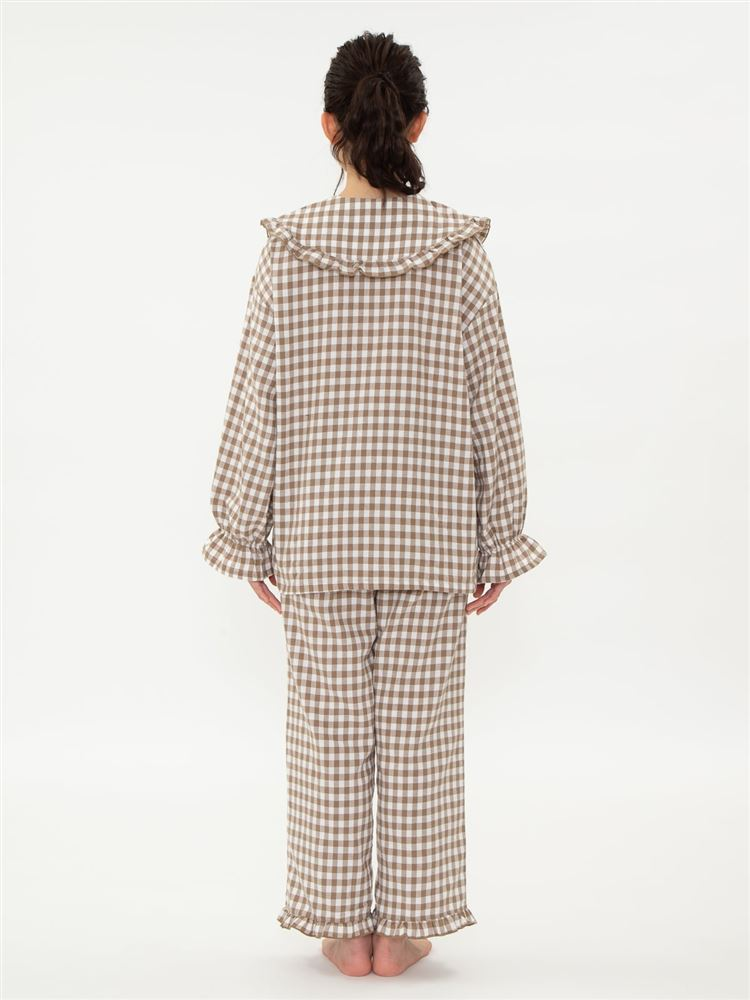 \橋下美好さん着用/ギンガムチェック柄ビッグカラーパジャマ