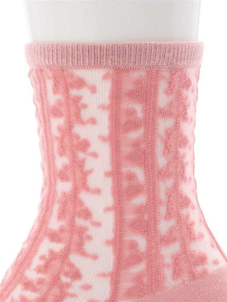 [レディライン]新彊綿縦花柄カラーシースルーソックス17cm丈