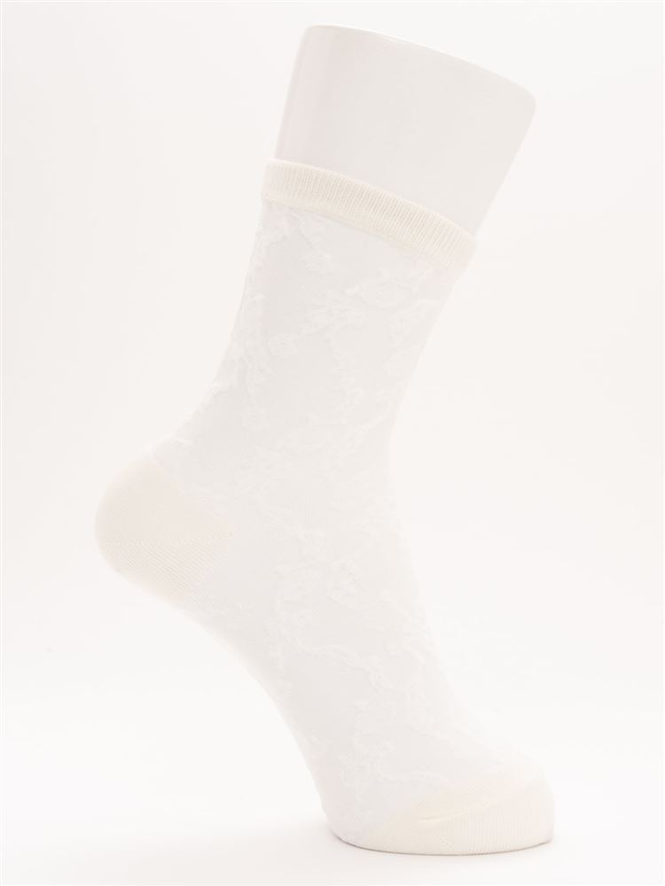 ガスシルケット花柄シースルーソックス16cm丈