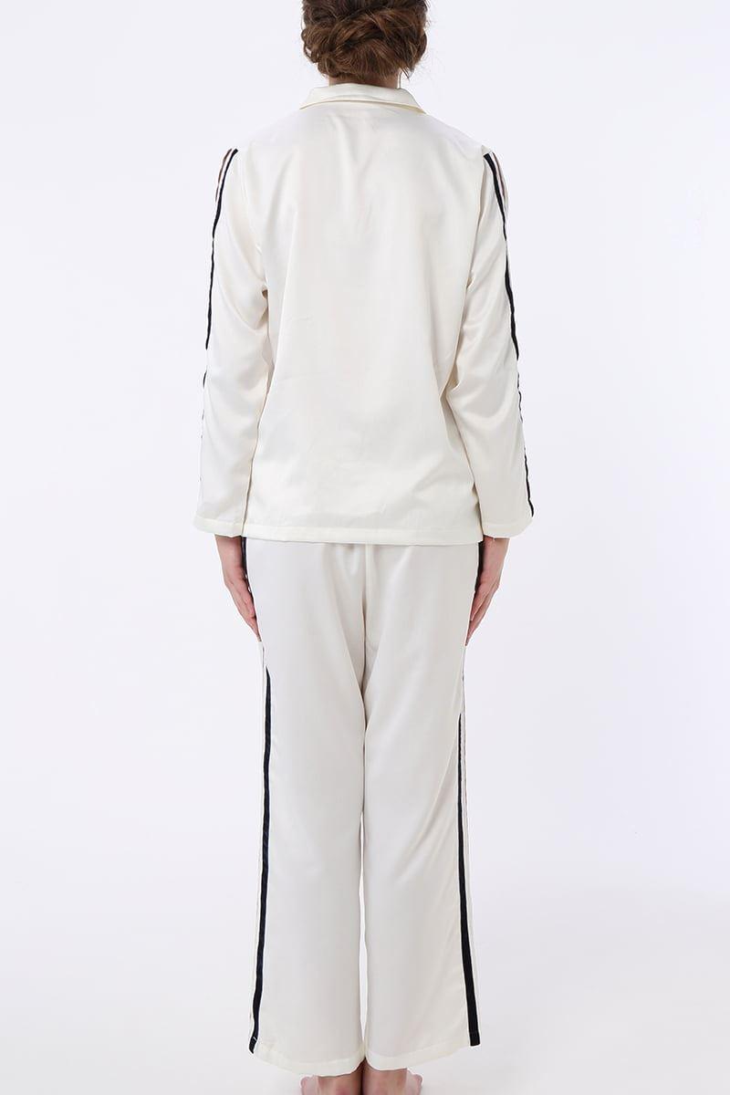 サテン無地サイドライン長袖パジャマ