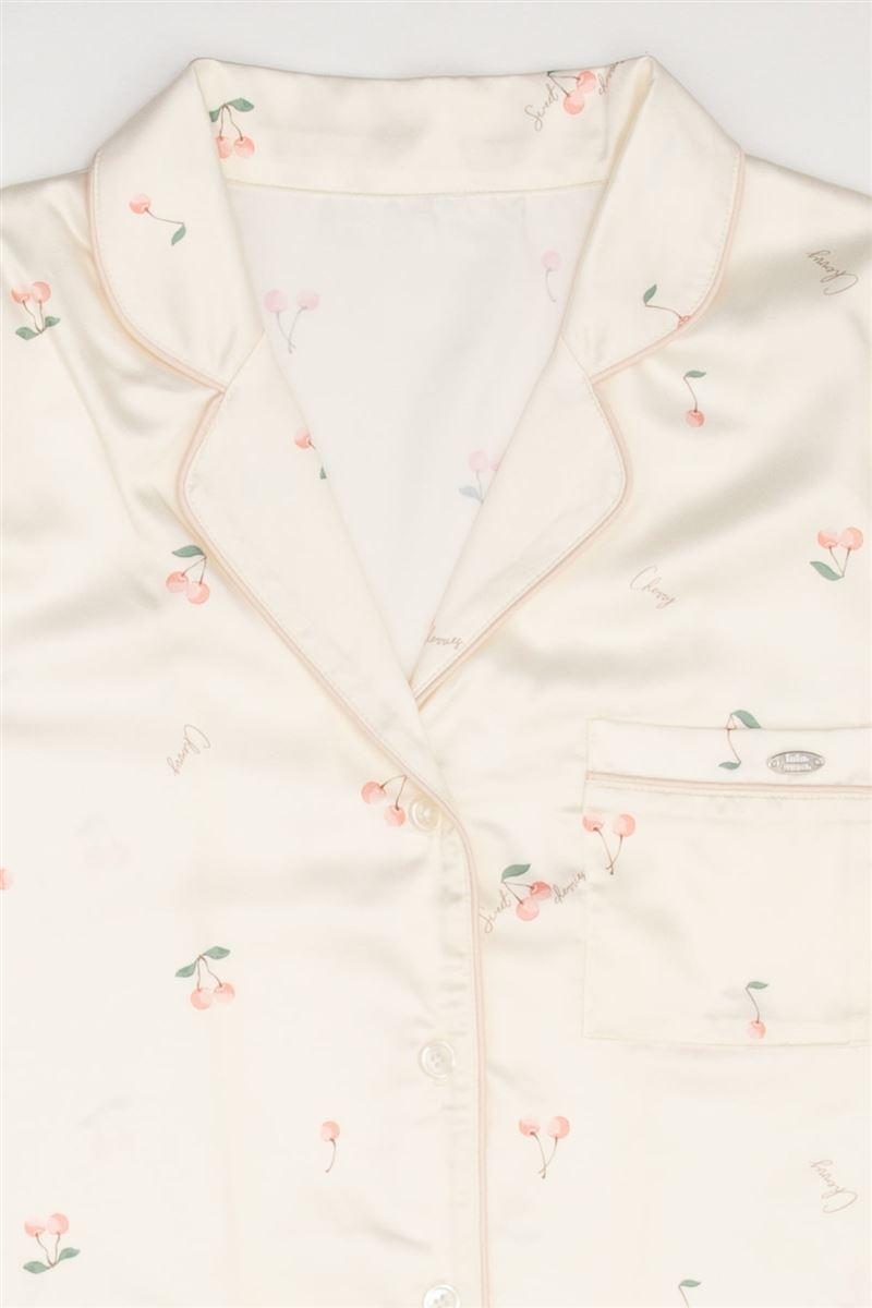 サテンチェリー柄前開き長袖パジャマ