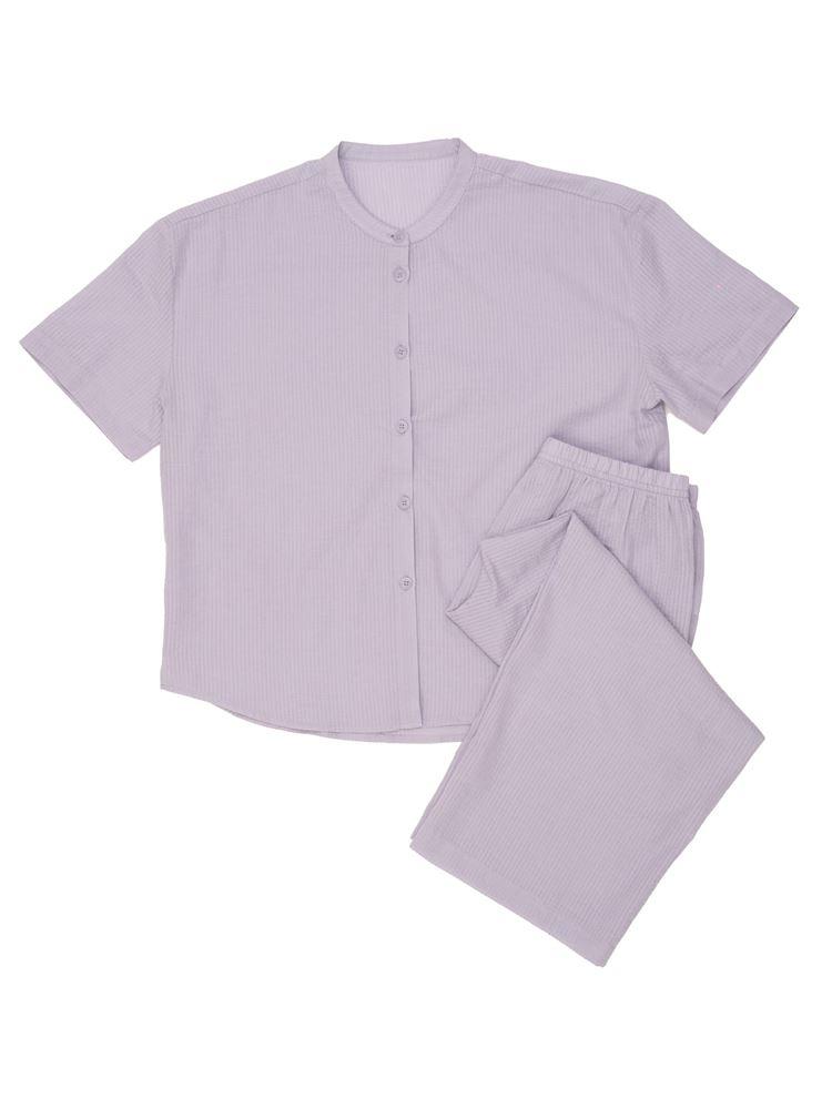 綿サッカー無地スタンド衿前開き半袖パジャマ