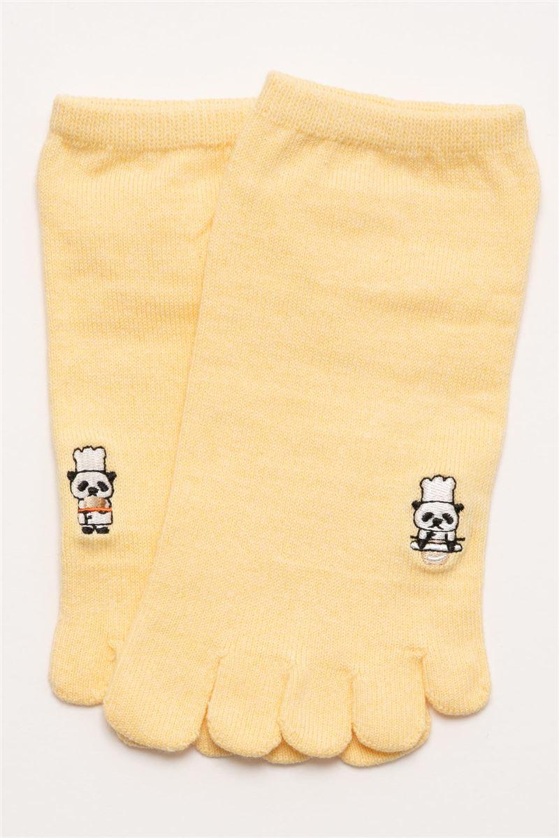 パンダのパン屋左右柄違い刺繍5本指くるぶしソックス