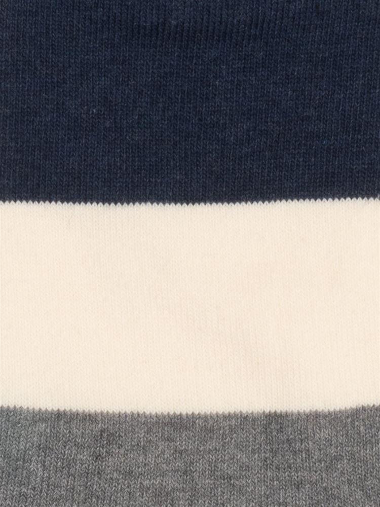 [メンズ]太ボーダー綿混5本指くるぶしソックス