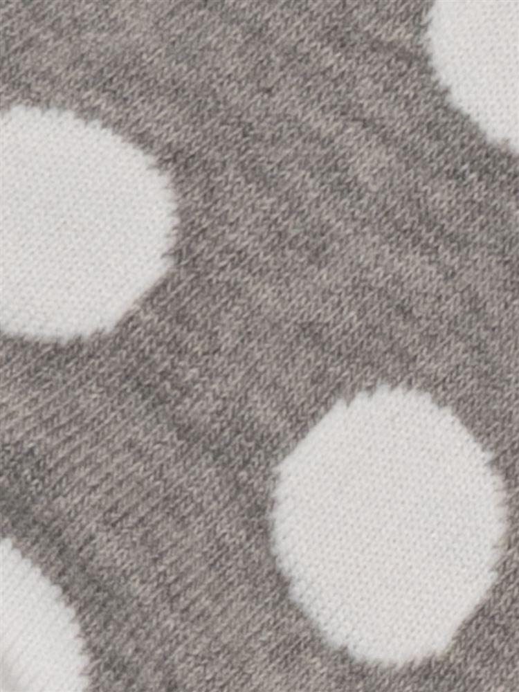 [ガールズ]大水玉柄綿混くるぶしソックス