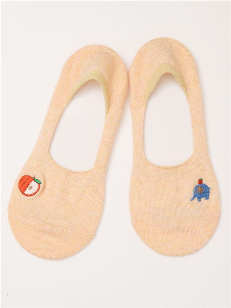 象とりんご刺繍綿混深履きカバーソックス