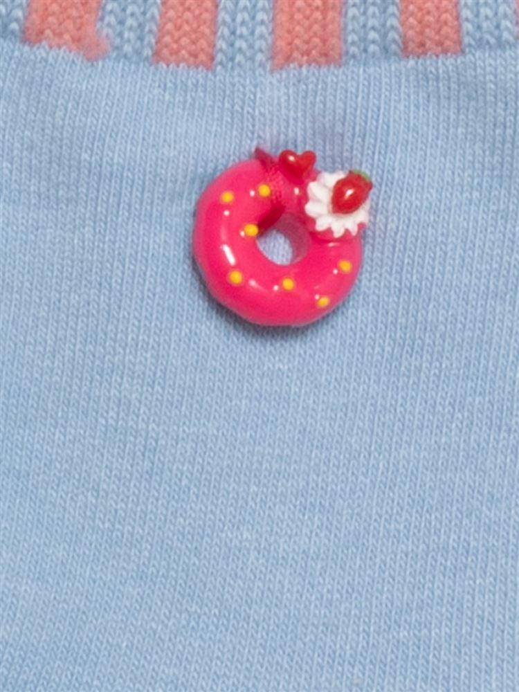 [ガールズ]ドーナツモチーフ付き綿混ソックス12cm丈
