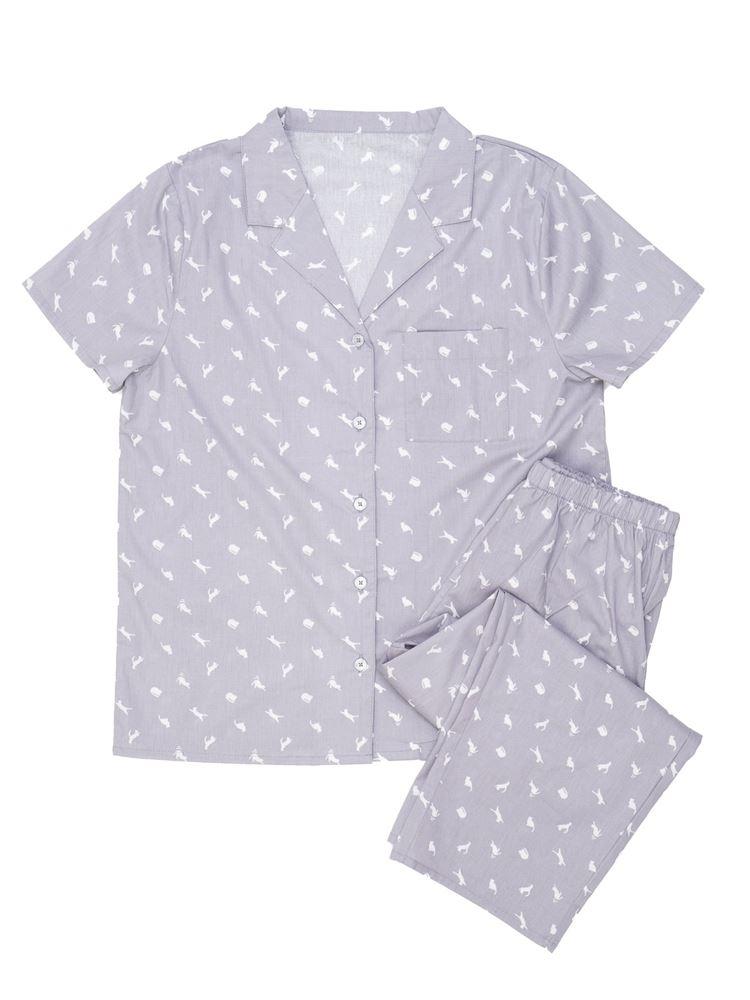 ネコ柄衿付き前開き半袖パジャマ