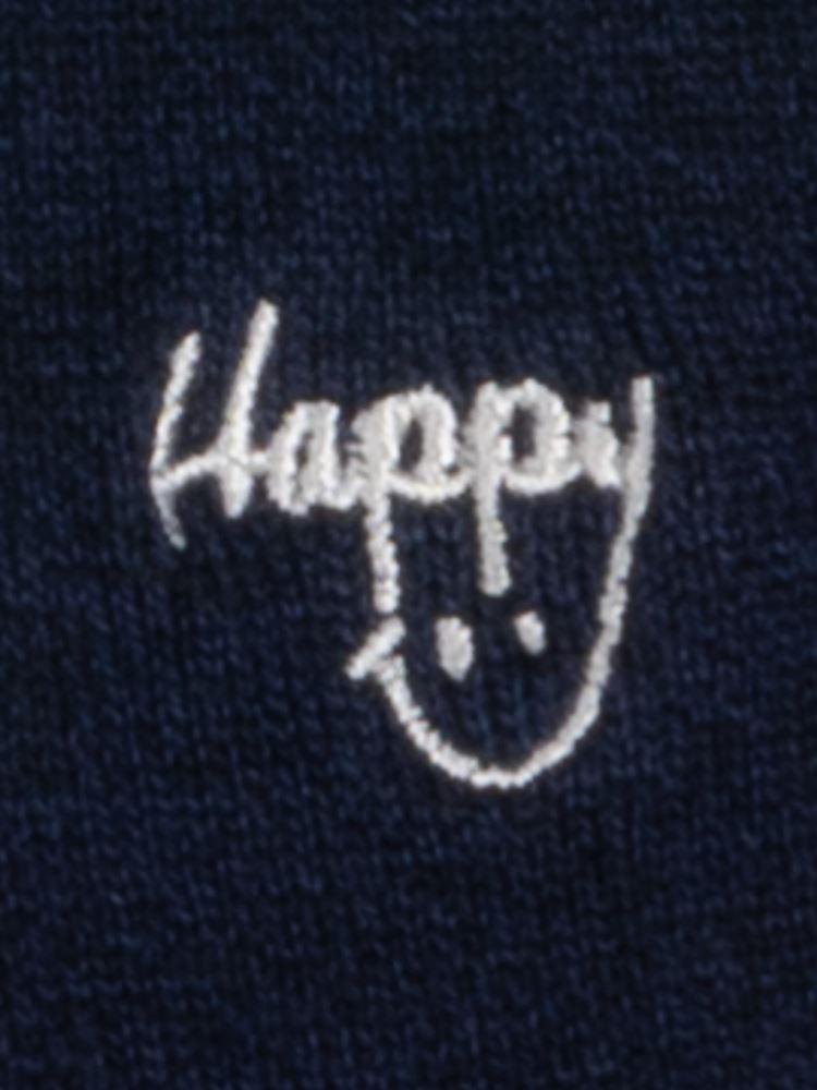 [メンズ]デオドラントHappyスマイル刺繍ローカット綿混くるぶしソックス